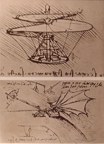 El tornillo aéreo (arriba), 1486, considerado el antecesor del helicóptero y un experimento sobre la fuerza de sustentación de un ala (abajo).