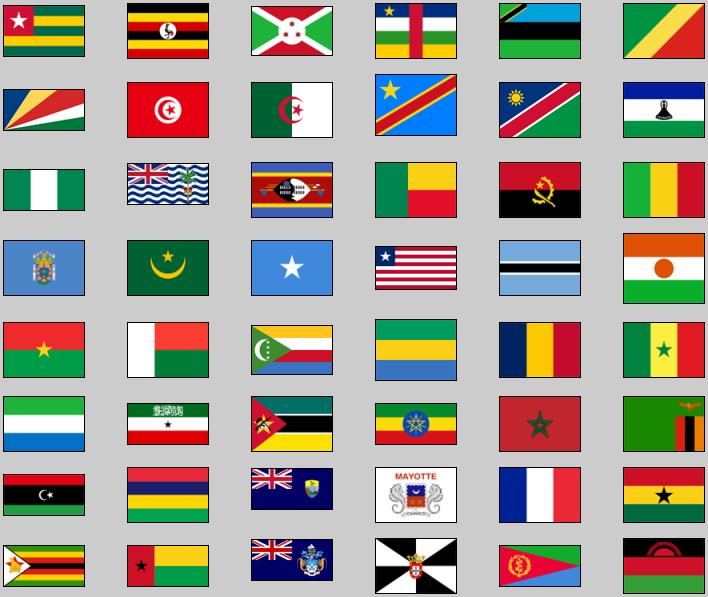 Flags of Africa. Lizard Point