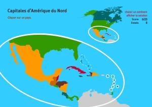 Capitales d'Amérique du Nord. Jeux de Géographie