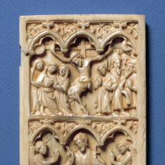 Placa de díptico conla Crucifixión y la Resurrección