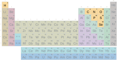 Periodic table, nonmetals group with symbols (difficult)