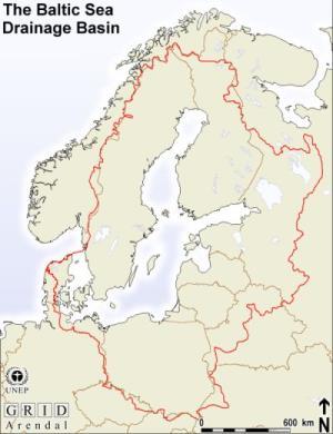 Mapa físico del mar Báltico. GRID-Arendal