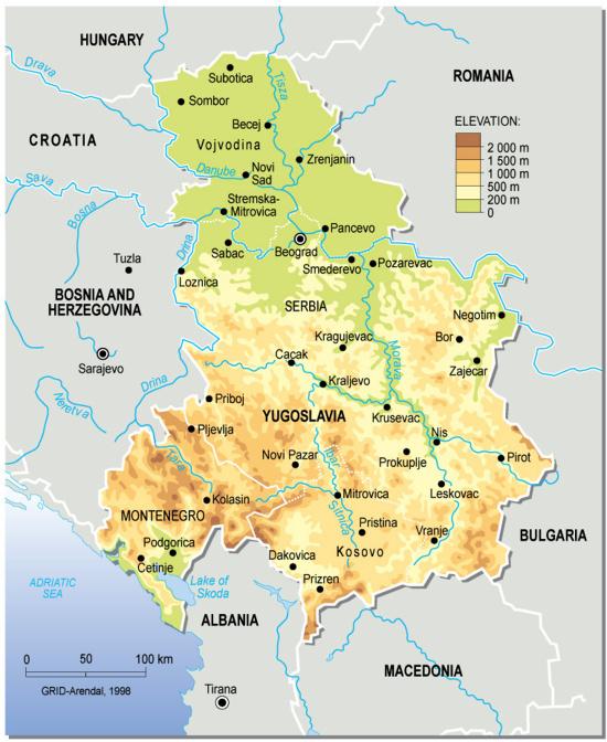 Mapa físico de Yugoslavia. GRID-Arendal