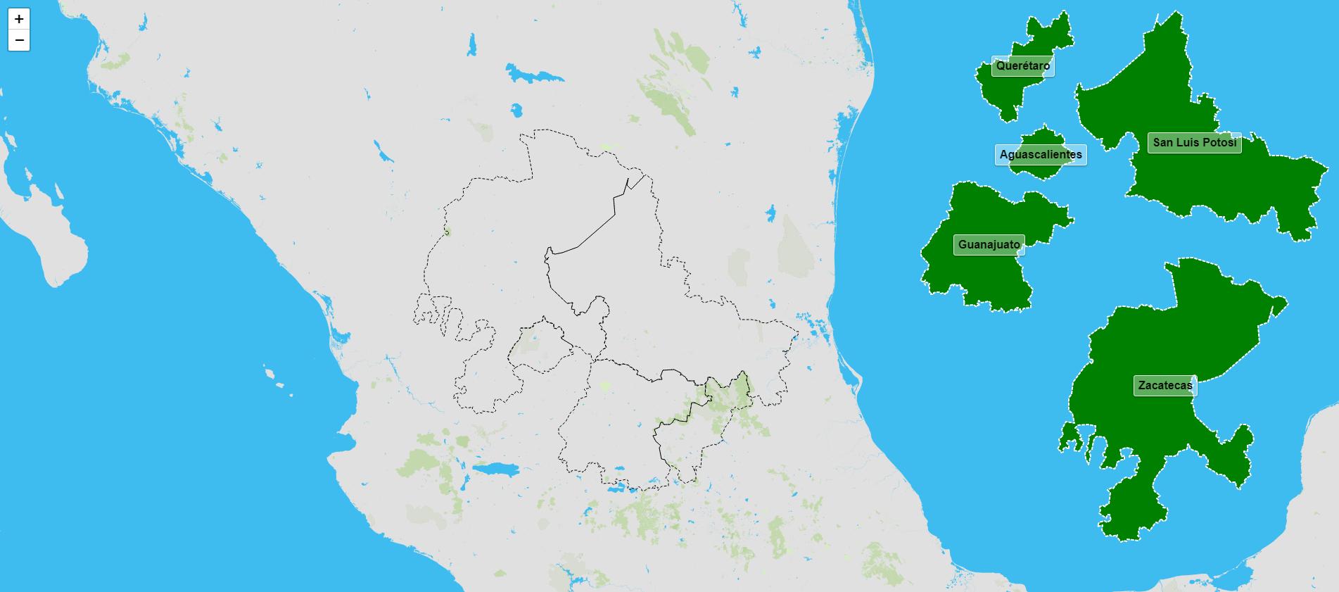 Estados de la región centronorte de México