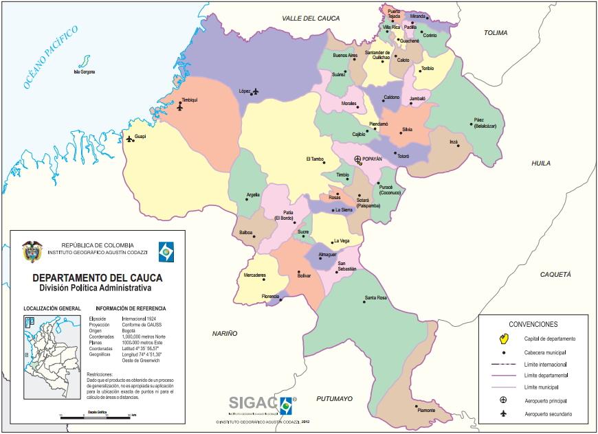 Mapa político de Cauca (Colombia). IGAC