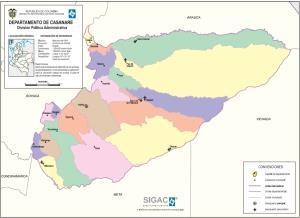 Mapa político de Casanare (Colombia). IGAC