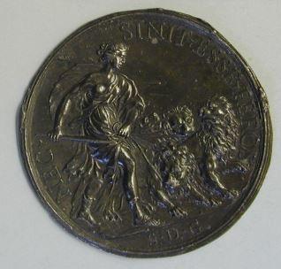 Prueba de reverso de una medalla de la reina cristina de Suecia