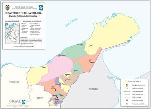 Mapa político de La Guajira (Colombia). IGAC