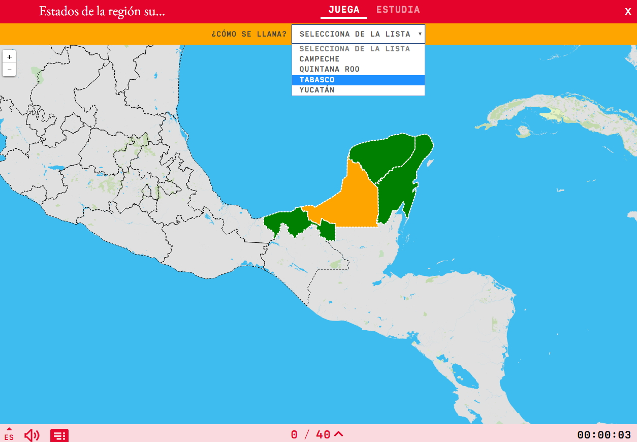 Estados de la región sureste de México