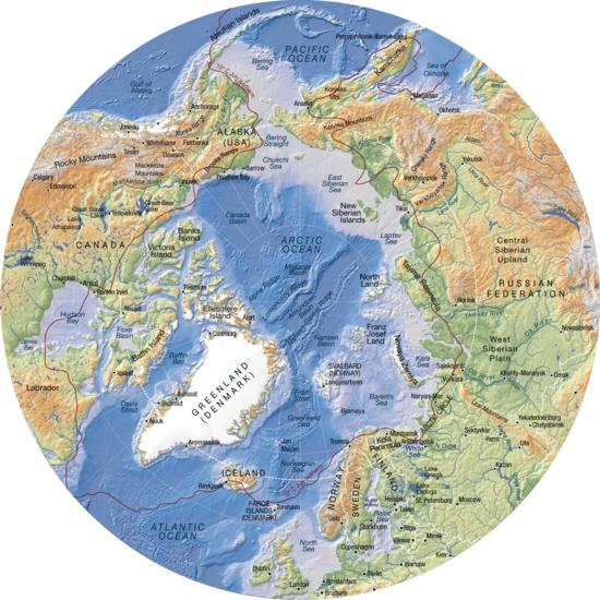 Mapa físico de la región del Ártico. GRID-Arendal