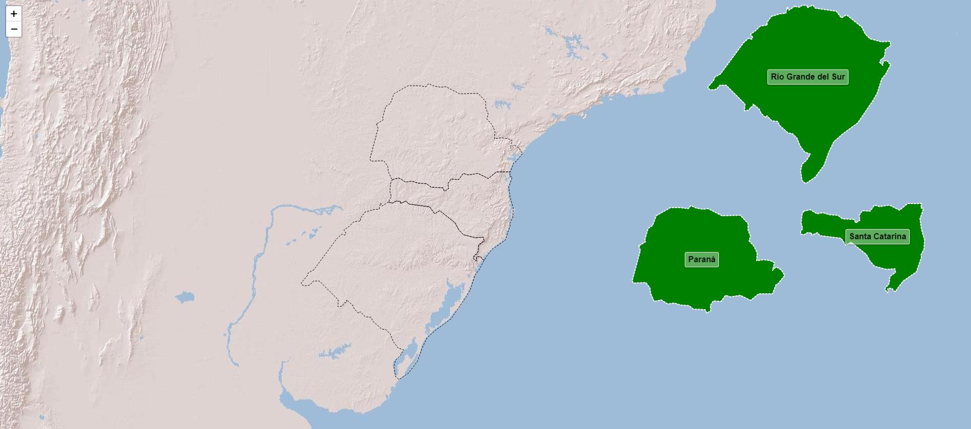 Estados da rexión sur de Brasil
