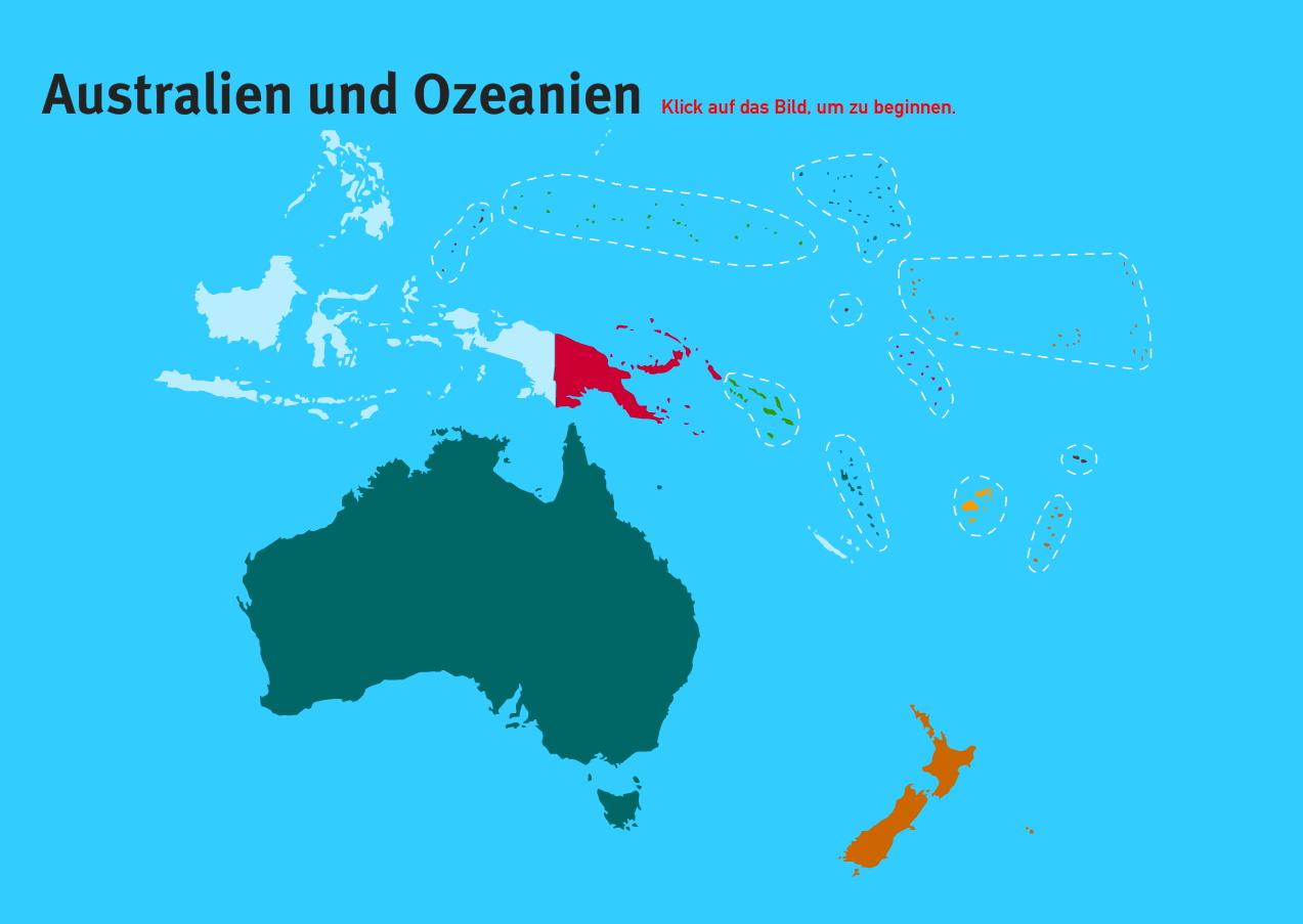 Länder der Ozeanien. Welt-Quiz Geographie