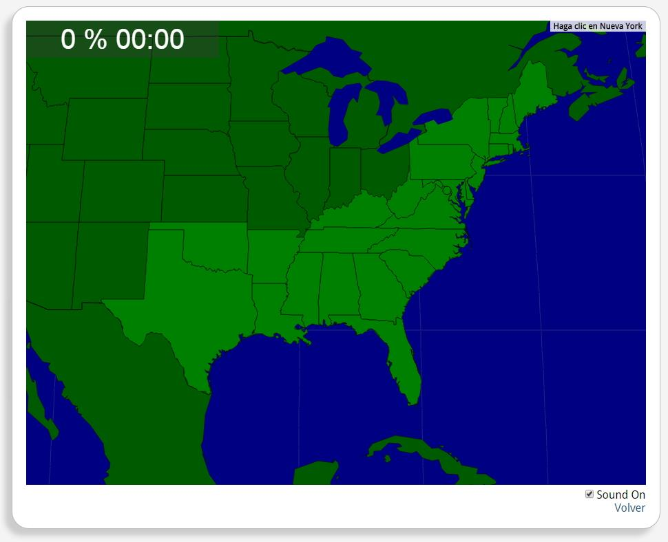 EUA: Estados no Sul e no Nordeste. Seterra