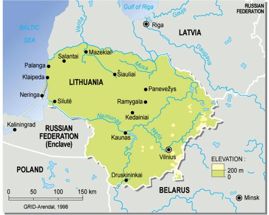 Mapa físico de Lituania. GRID-Arendal