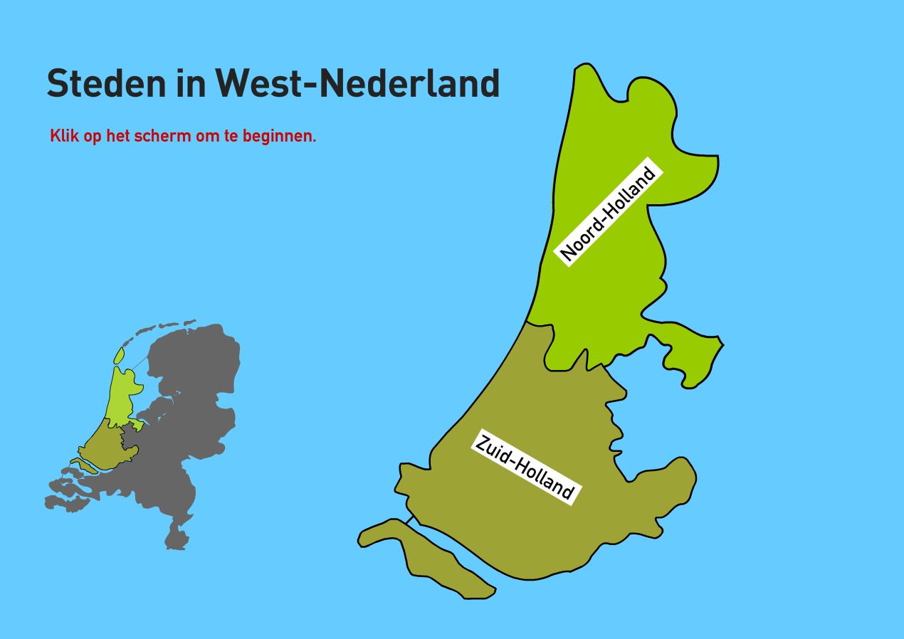 Steden in West-Nederland. Topografie van Nederland