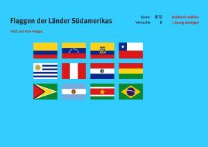 Flaggen der Länder Südamerikas. Welt-Quiz Geographie
