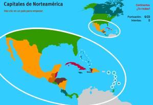Capitales de América del Norte. Juegos de Geografía