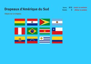 Drapeaux d'Amérique du Sud. Jeux de Géographie
