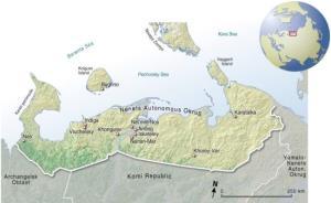 Mapa político de los Nenets (pueblo de Siberia). GRID-Arendal