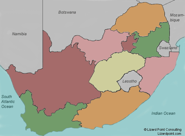Provinces of South Africa. Lizard Point