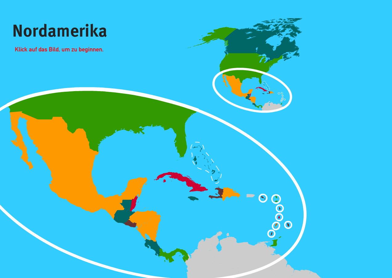 Länder der Nordamerika. Welt-Quiz Geographie