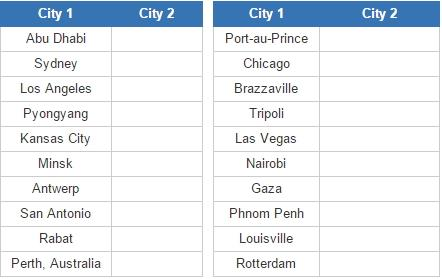 Closest city pairs 3 (JetPunk)