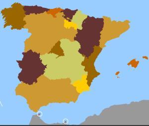 Comunidades y ciudades autónomas de España. Toporopa