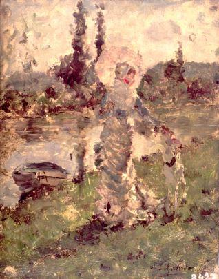 Dama con sombrilla junto a un río