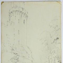 Vista de torreón de castillo y murallas