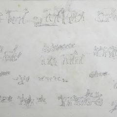 Apuntes de animales, jinetes y carruajes