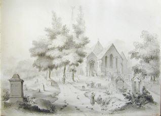 Vista de capilla y cementerio (Gales)