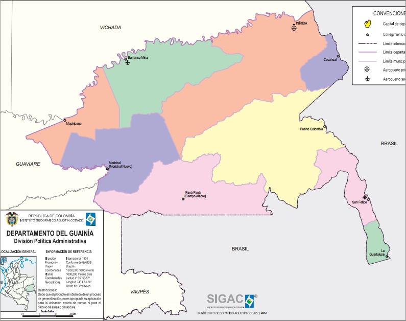Mapa político de Guainía (Colombia). IGAC
