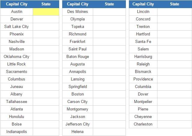 Capitals of U.S. State (JetPunk)