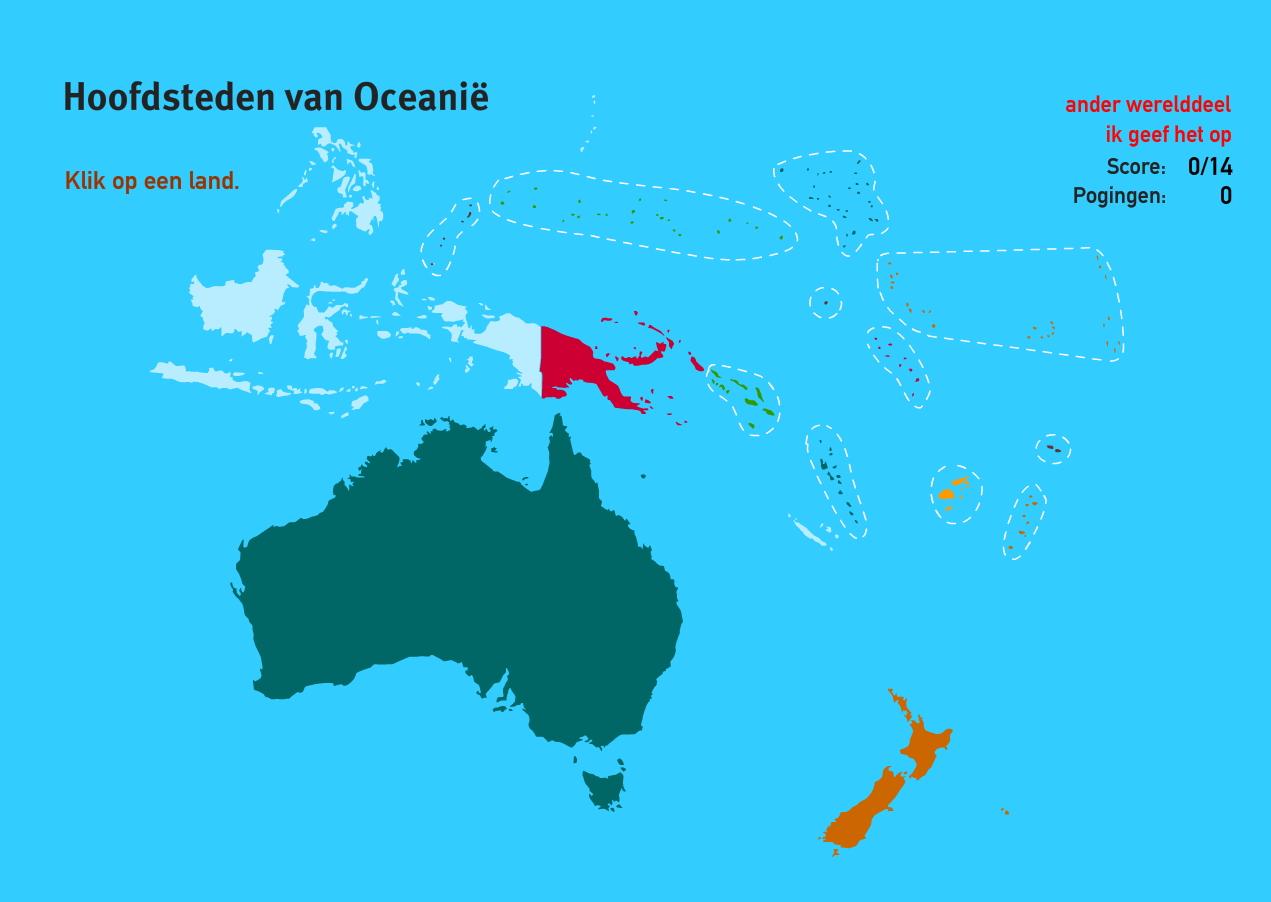 Hoofdsteden van Oceanië. Topo Wereld