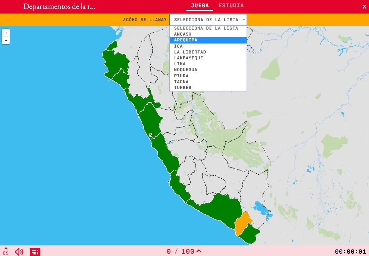 Departamentos da rexión costeira do Perú