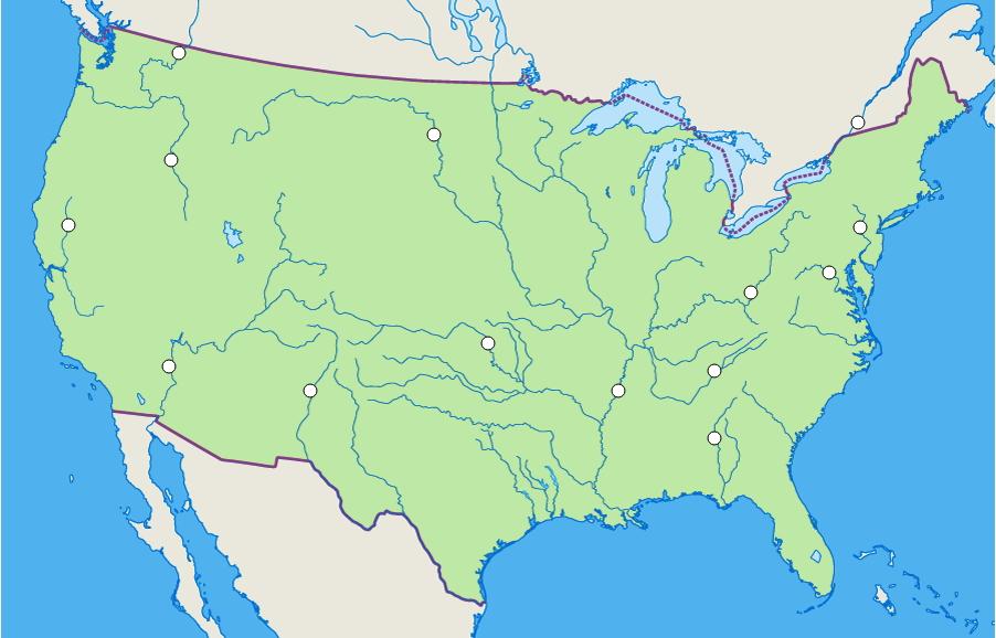 Ríos de Estados Unidos. Seterra