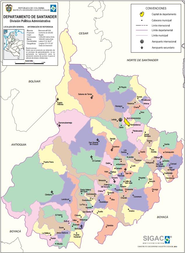 Mapa político de Santander (Colombia). IGAC