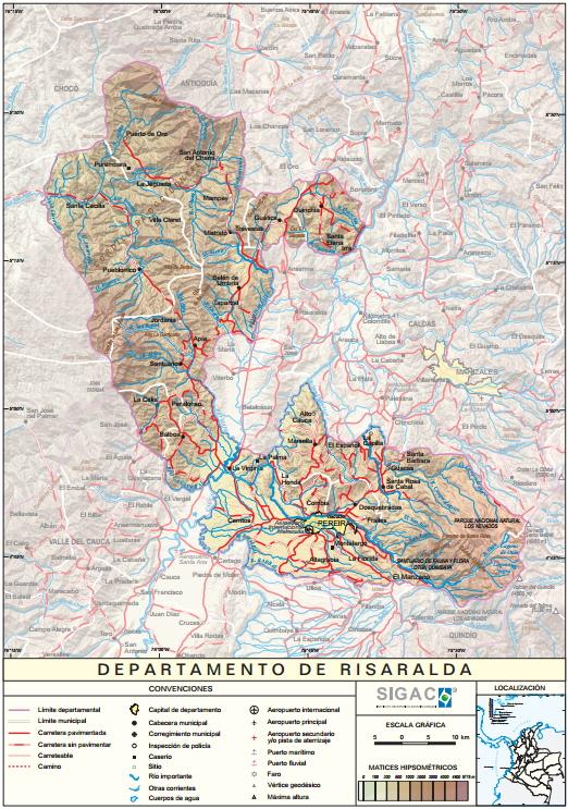 Mapa físico de Risaralda (Colombia). IGAC