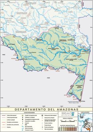 Mapa físico de Amazonas (Colombia). IGAC