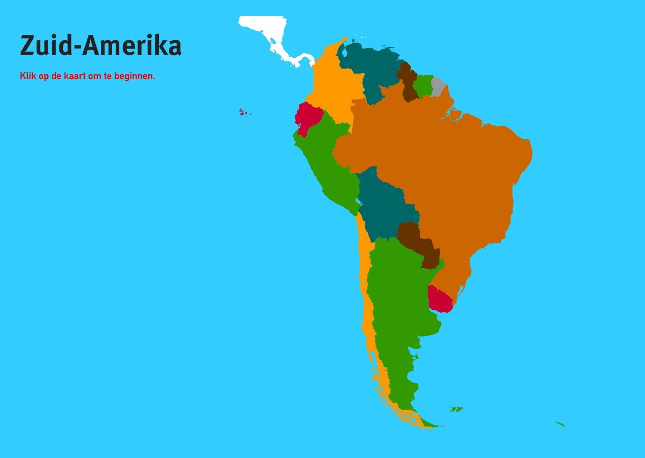 Landen van Zuid-Amerika. Topo Wereld
