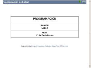 Bachillerato Primer Curso - Programación Latín I