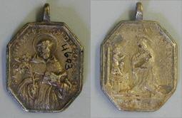 Medalla con Santo Domingo de Guzmán y Santa Rosa de Lima