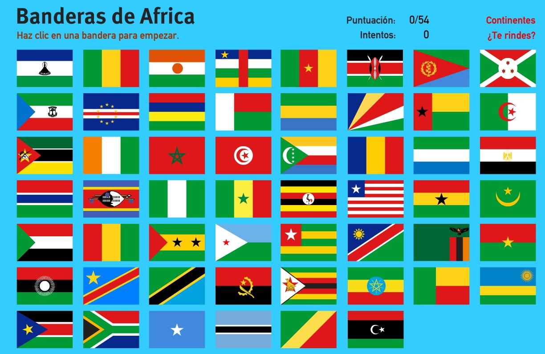 Banderas de África. Juegos de Geografía