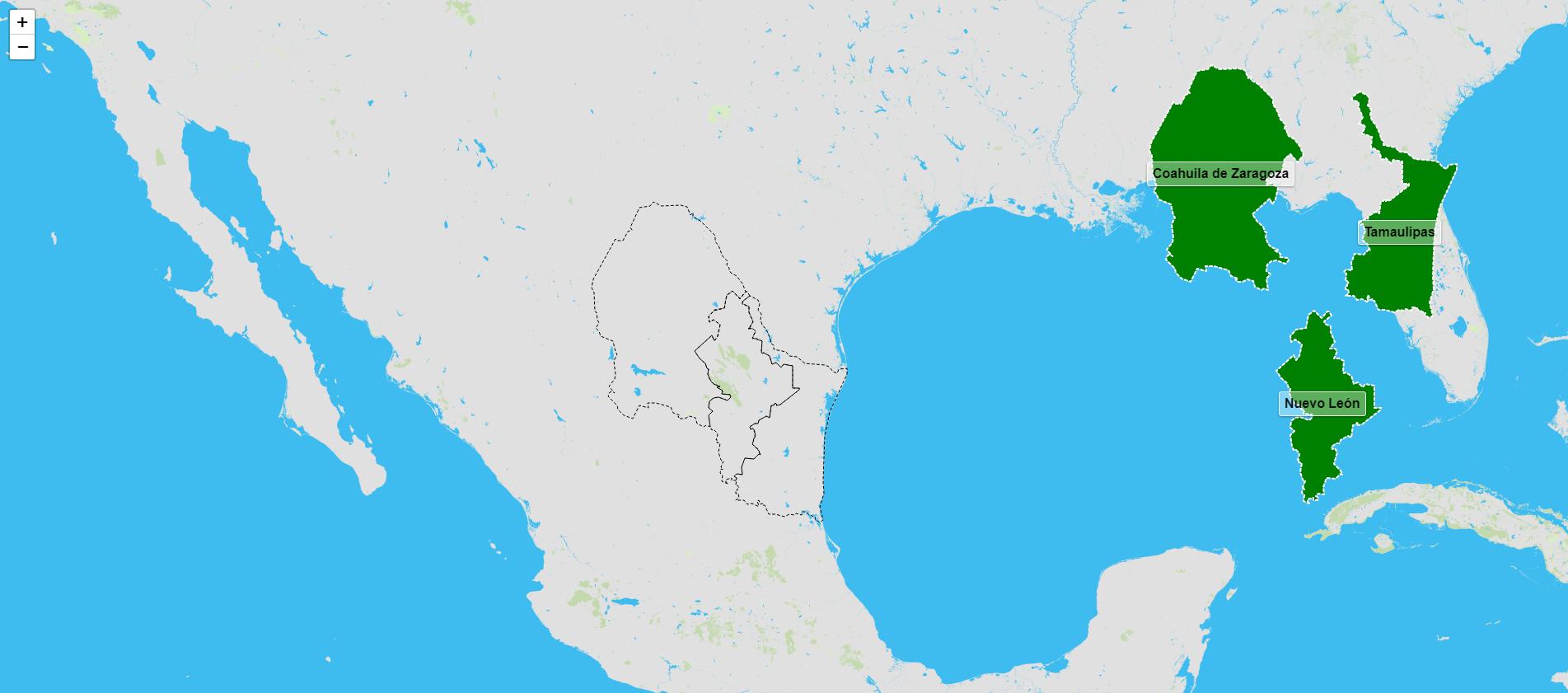 Estados de la región noreste de México