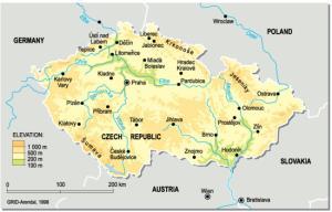 Mapa físico de la República Checa. GRID-Arendal
