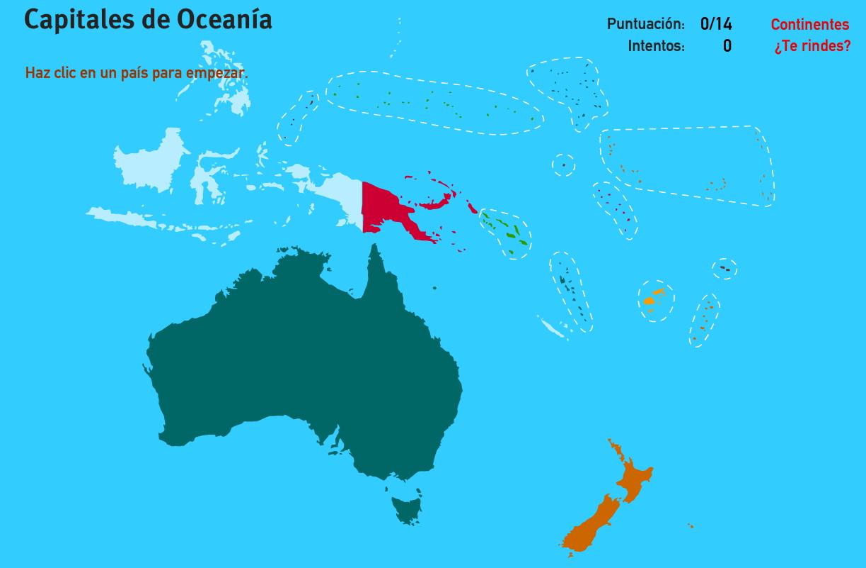 Capitales de Oceanía. Juegos de Geografía