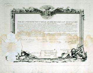 Título de arquitecto otorgado a Miguel Gálvez por la Real Academia de San Fernando