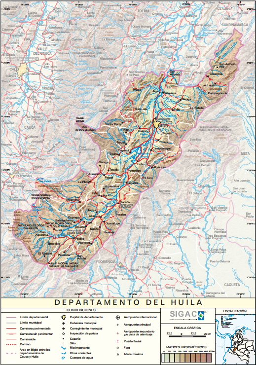 Mapa físico de Huila (Colombia). IGAC