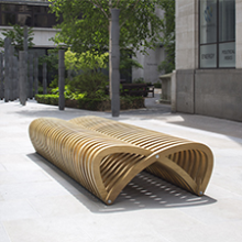 Innovative Duraply plywood bench in London