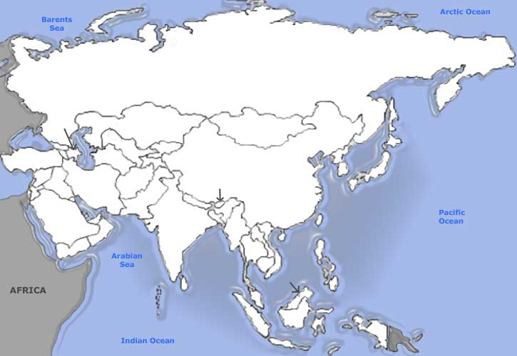 Countries of Asia. Sporcle